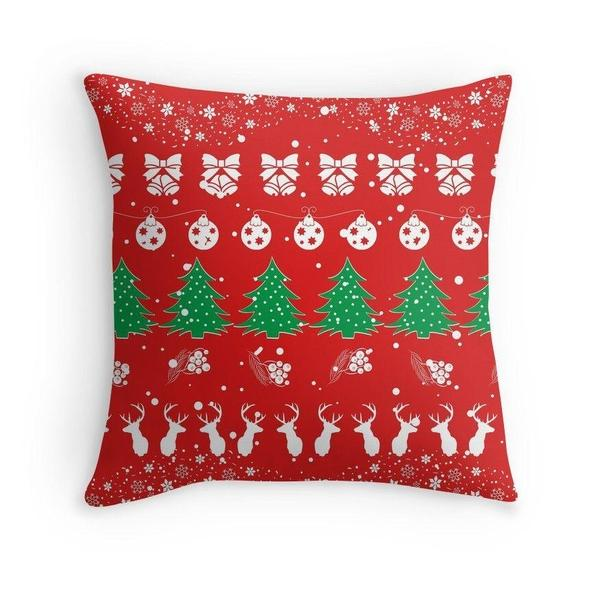 Christmas xmas pattern in red throw pillow case-Pillows-famenxt