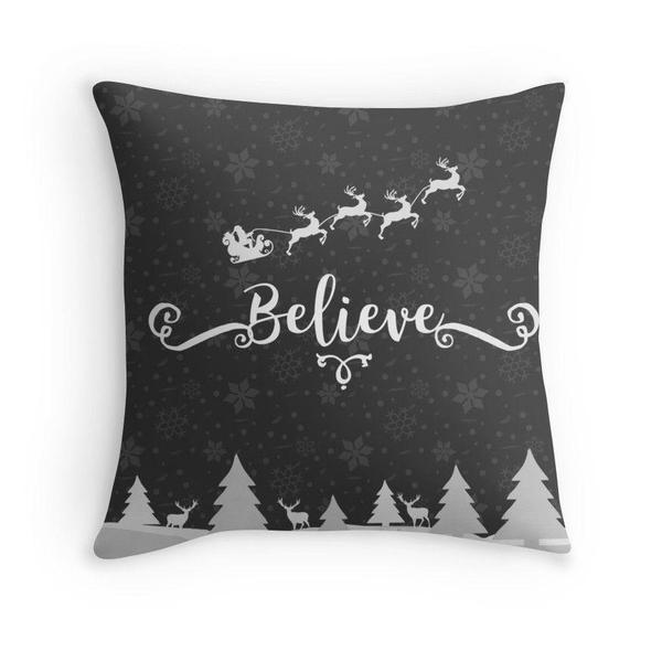 Christmas Believe throw pillow case-Pillows-famenxt