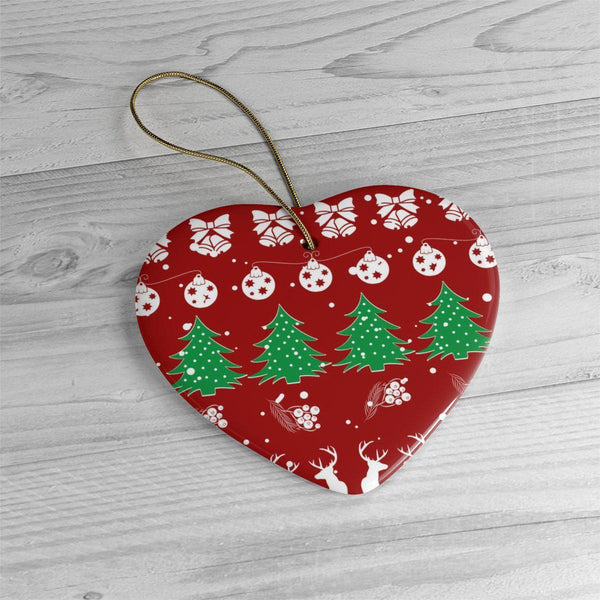 Christmas Vibes Red Ceramic Ornaments in Four Unique Shapes-Home Decor-famenxt