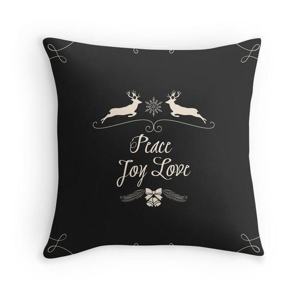 Christmas Peace Joy Love in Black throw pillow case-Pillows-famenxt