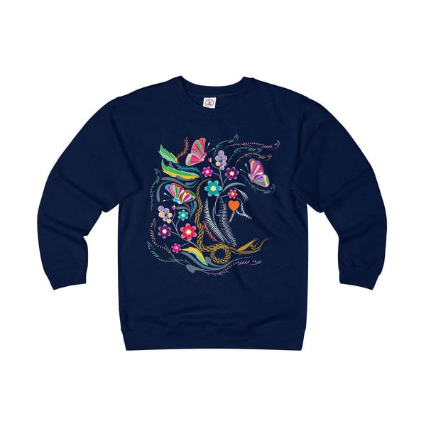 Garden Floral Adult Unisex Heavyweight/Lightweight Fleece Crew-Sweatshirt-famenxt
