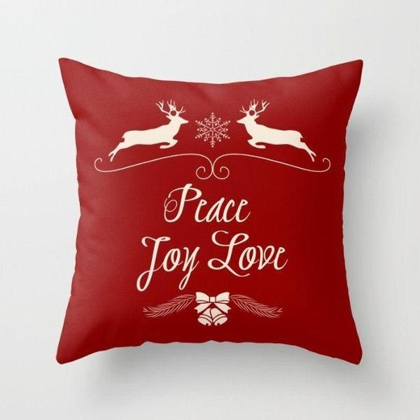 Christmas Peace Joy Love in Red throw pillow case-Pillows-famenxt