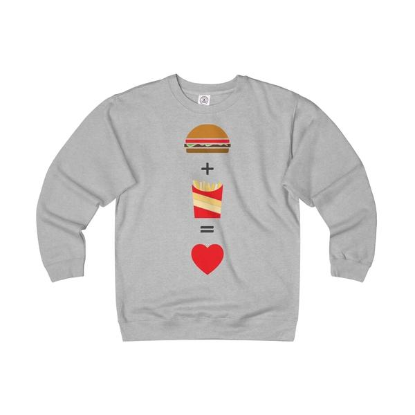 Burger and Fries Unisex Heavyweight/Lightweight Fleece Crew-Sweatshirt-famenxt