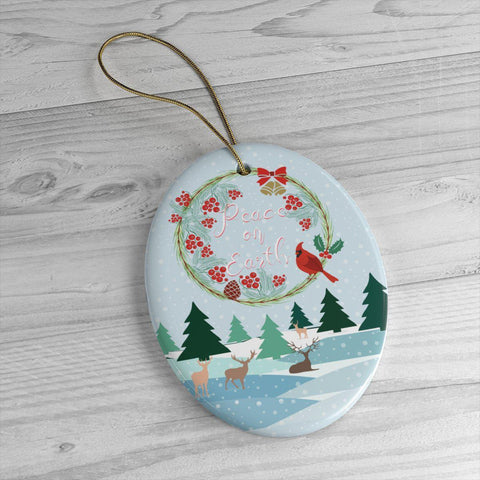 Christmas Landscape Ceramic Ornaments in Four Unique Shapes-Home Decor-famenxt