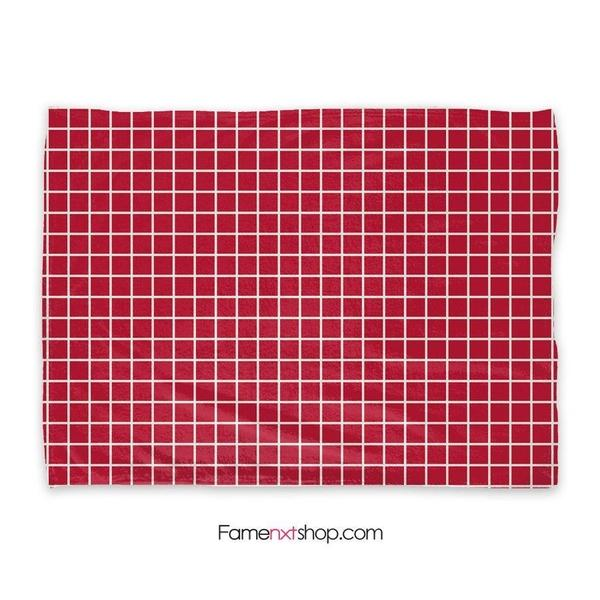 Grid red Throw Blanket-Throw Blanket-famenxt