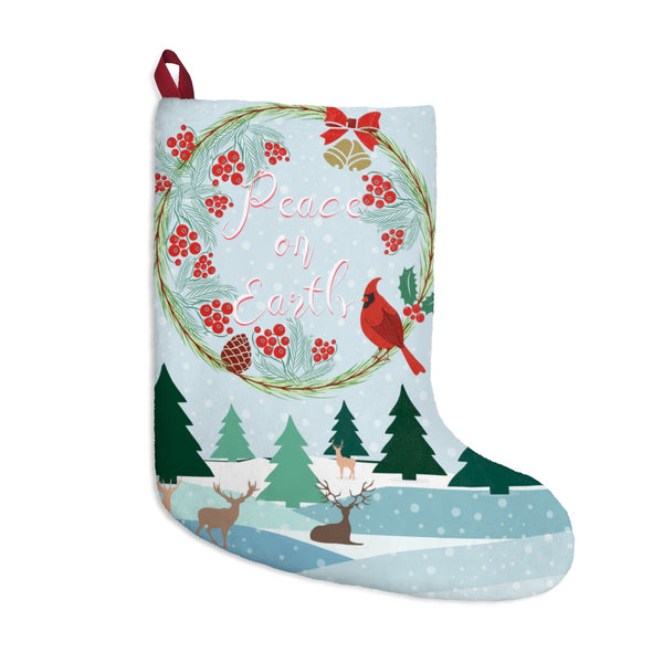 Peace on Earth Winter Landscape Christmas Stocking Double Sided Printed-Home Decor-famenxt