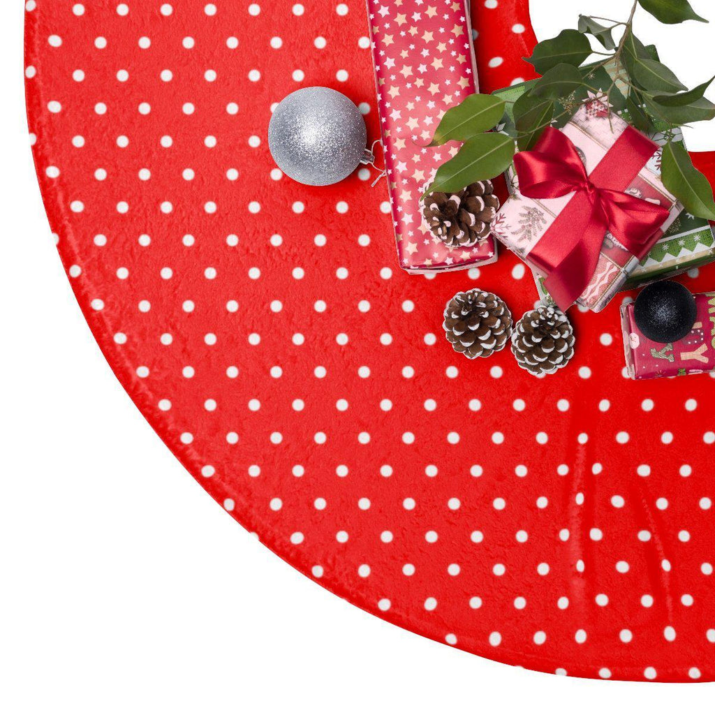 "Dots Red 44"" Christmas Tree Skirt-Home Decor-famenxt"