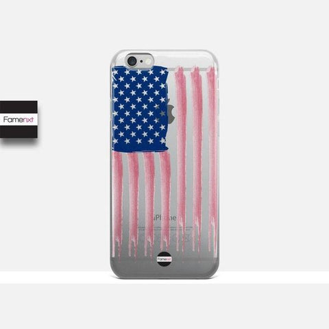 US flag clear case, Transparent Case, Crystal Clear-iphone case-famenxt
