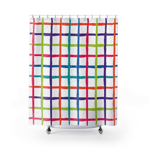 Colorful Square Boxes Grid Shower Curtains-Shower Curtain-famenxt