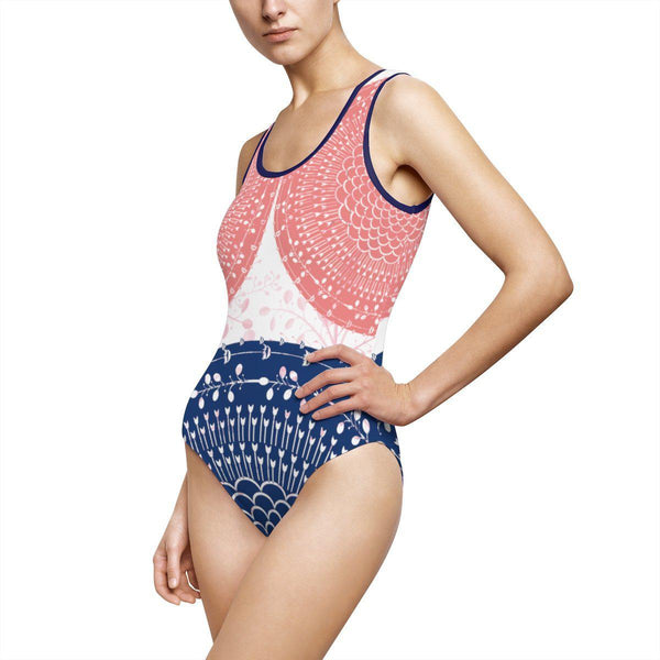 Soft Red Blue Pattern Women's Classic One-Piece Swimsuit-All Over Prints-famenxt