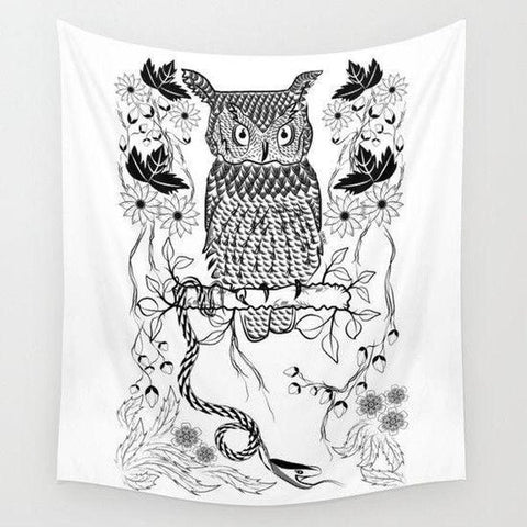 Owl in the Jungle Wall Tapestry-Wall Tapestry-famenxt