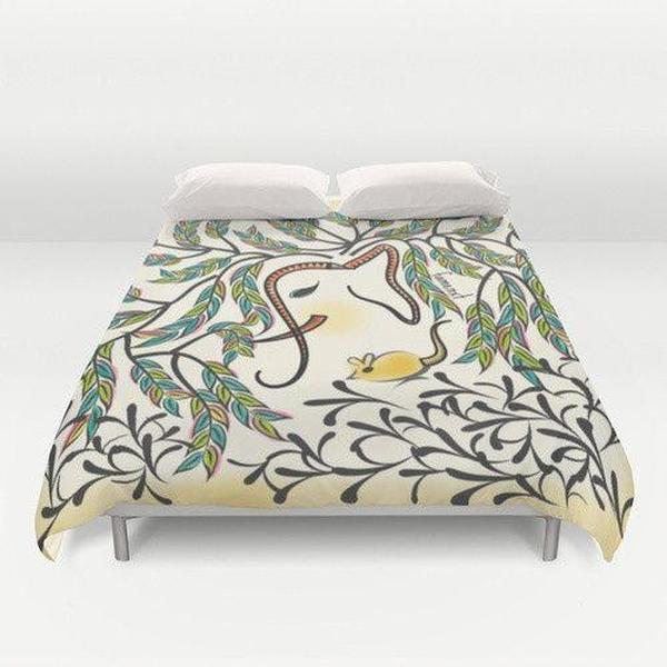 Elephant in Jungle Color Duvet Cover-Duvet Cover-famenxt