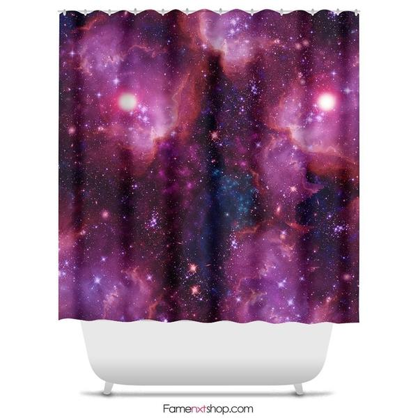 "Pink galaxy Shower Curtain Sizes: 70in x 70in, 70in x 83in, 70in x 90in, 71in x 74in Sizes: 70"" x 70"", 70"" x 83"", 70"" x 90"", 71"" x 74""-Shower Curtain-famenxt"
