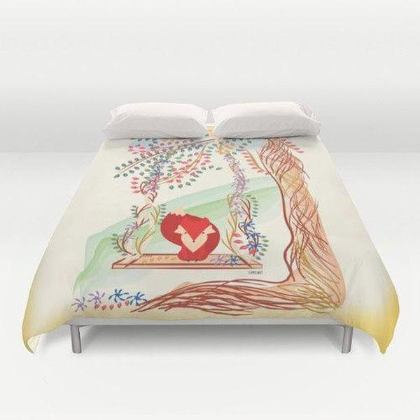 Red Little Fox in Jungle Duvet Cover-Duvet Cover-famenxt