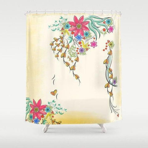 "Shabby chic shower curtain Sizes: 70in x 70in, 70in x 83in, 70in x 90in, 71in x 74in Sizes: 70"" x 70"", 70"" x 83"", 70"" x 90"", 71"" x 74""-Shower Curtain-famenxt"