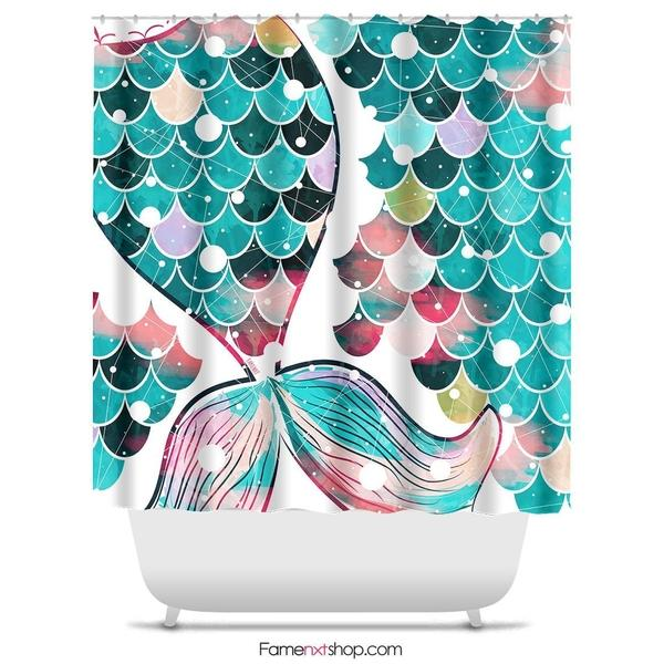 "Mermaid tail teal Shower Curtain Sizes: 70in x 70in, 70in x 83in, 70in x 90in, 71in x 74in Sizes: 70"" x 70"", 70"" x 83"", 70"" x 90"", 71"" x 74""-Shower Curtain-famenxt"