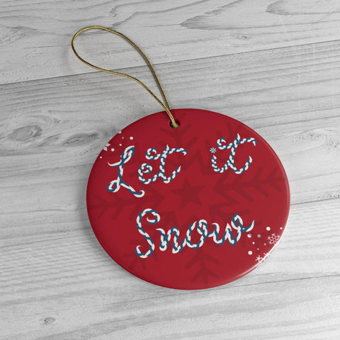Let it Snow Red Ceramic Ornaments in Two Unique Shapes-Home Decor-famenxt