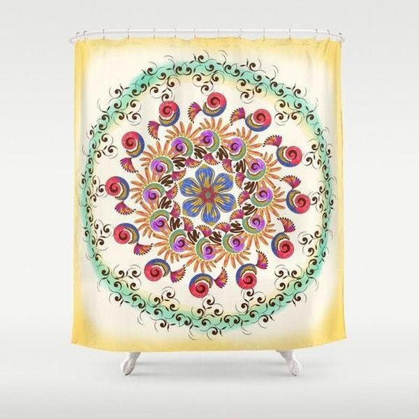 "Mandala mint shower curtain Sizes: 70in x 70in, 70in x 83in, 70in x 90in, 71in x 74in Sizes: 70"" x 70"", 70"" x 83"", 70"" x 90"", 71"" x 74""-Shower Curtain-famenxt"