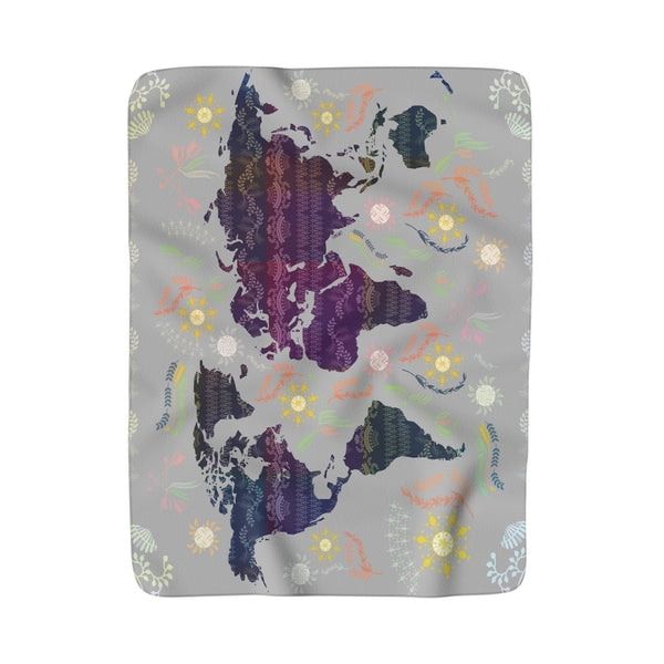 World Map Boho Grey Sherpa Fleece Blanket-Home Decor-famenxt