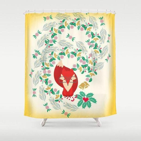 "Fox shower curtain Sizes: 70in x 70in, 70in x 83in, 70in x 90in, 71in x 74in Sizes: 70"" x 70"", 70"" x 83"", 70"" x 90"", 71"" x 74""-Shower Curtain-famenxt"