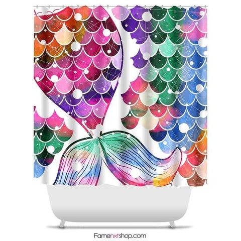 "Mermaid tail colorful Shower Curtain Sizes: 70in x 70in, 70in x 83in, 70in x 90in, 71in x 74in Sizes: 70"" x 70"", 70"" x 83"", 70"" x 90"", 71"" x 74""-Shower Curtain-famenxt"