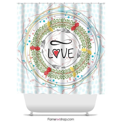 "Infinite love wreath Shower Curtain Sizes: 70in x 70in, 70in x 83in, 70in x 90in, 71in x 74in Sizes: 70"" x 70"", 70"" x 83"", 70"" x 90"", 71"" x 74""-Shower Curtain-famenxt"