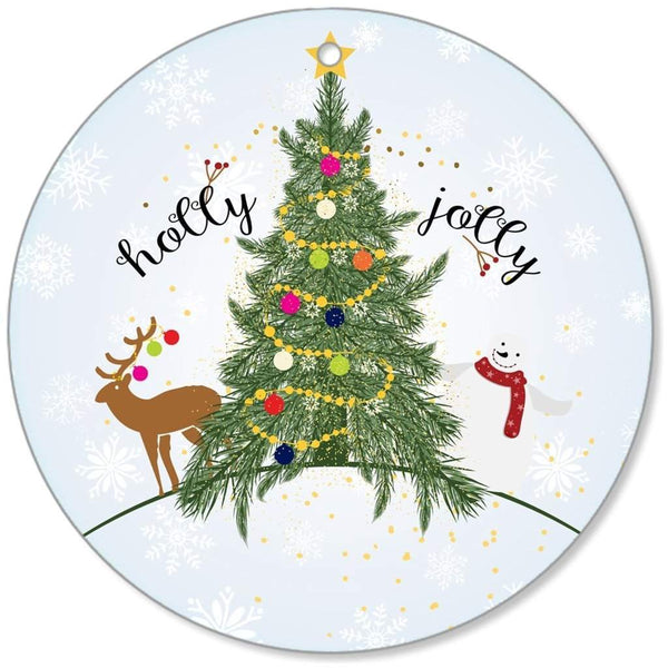 Holly Jolly Christmas Canvas Ornaments-famenxt