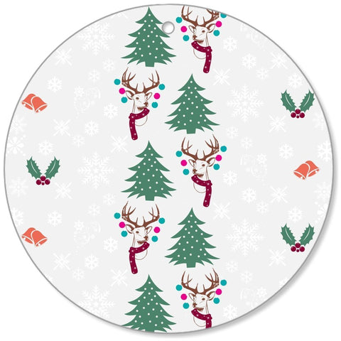 Christmas Pattern Silver Christmas Canvas Ornaments-Christmas Canvas Ornaments-famenxt