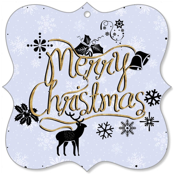 Merry Christmas Gold Purple Christmas Canvas Ornaments-Christmas Canvas Ornaments-famenxt