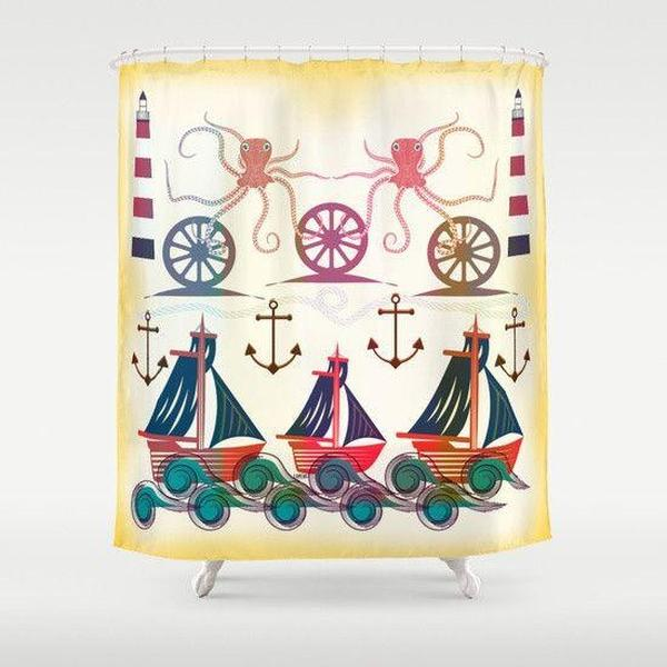 "Nautical shower curtain Sizes: 70in x 70in, 70in x 83in, 70in x 90in, 71in x 74in Sizes: 70"" x 70"", 70"" x 83"", 70"" x 90"", 71"" x 74""-Shower Curtain-famenxt"