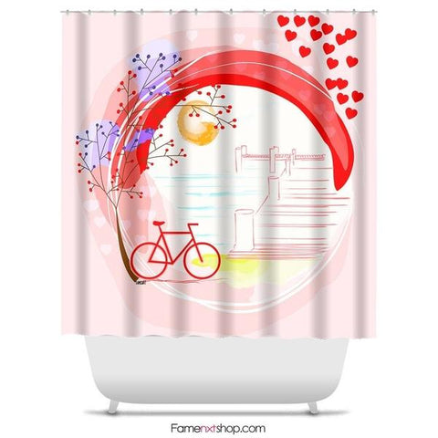 "A lakeside romantic walk Shower Curtain Sizes: 70in x 70in, 70in x 83in, 70in x 90in, 71in x 74in Sizes: 70"" x 70"", 70"" x 83"", 70"" x 90"", 71"" x 74""-Shower Curtain-famenxt"