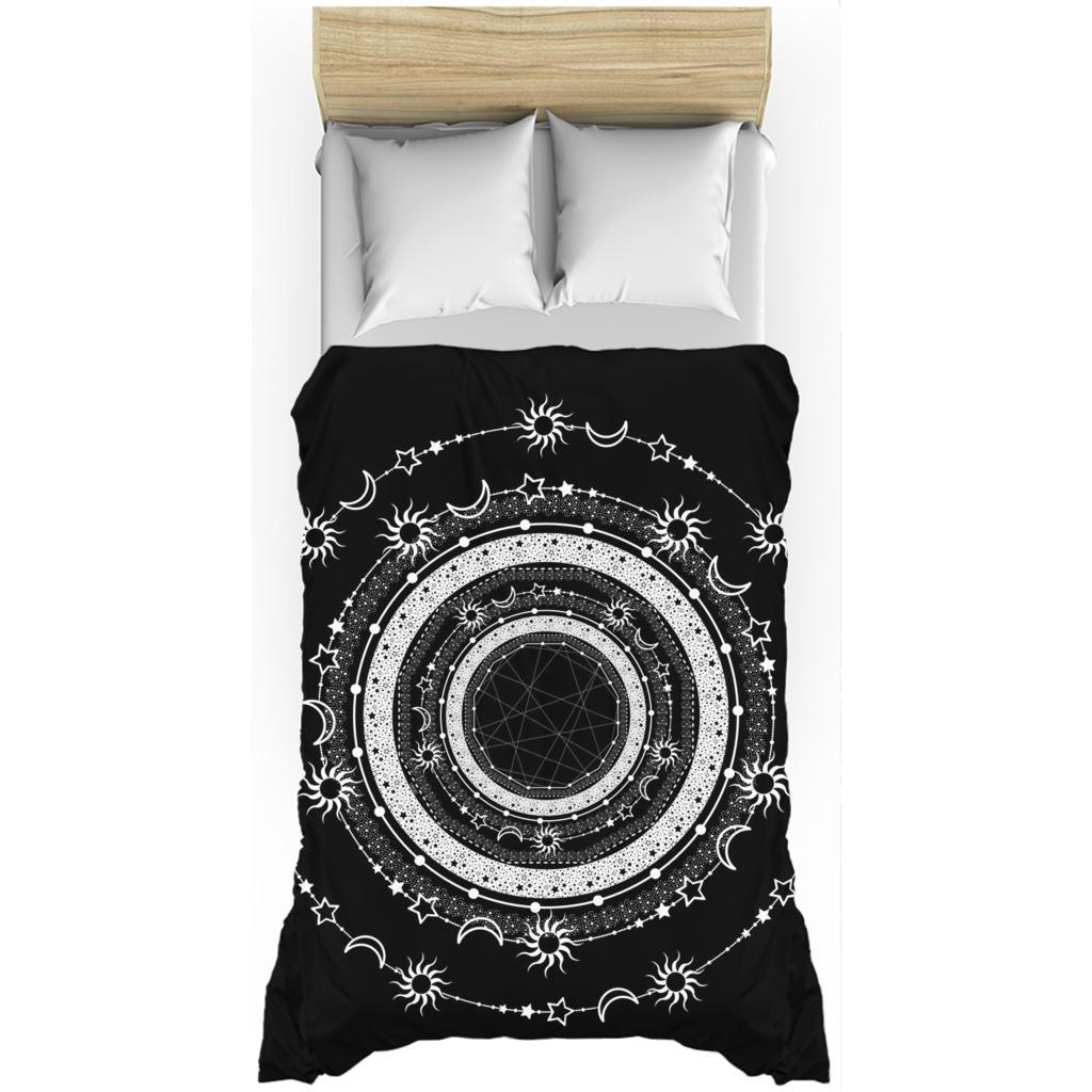 Bohemian Sun Moon Stars from my15bohemianart Collection Black Duvet Cover-Duvet Cover-famenxt