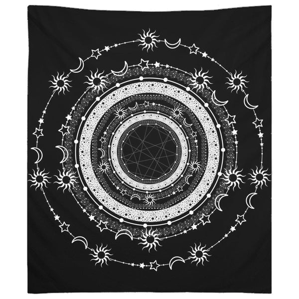 Bohemian Sun Moon Stars from my15bohemianart Collection Black Tapestry-Wall Tapestry-famenxt