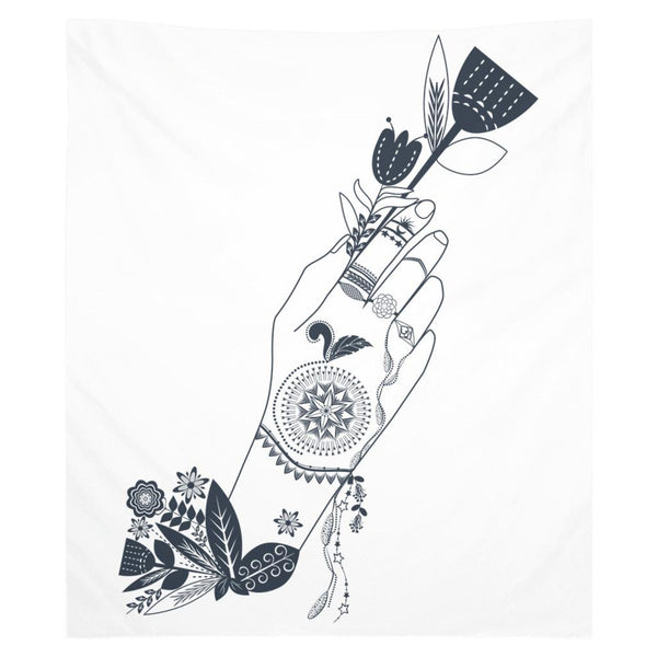 Bohemian Flower Girl from my15bohemianart Collection White Tapestry-Wall Tapestry-famenxt
