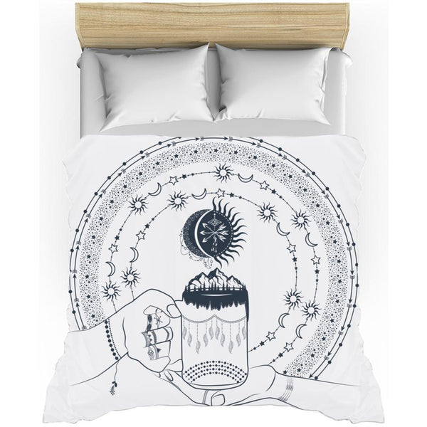 My Bohemian World from my15bohemianart Collection White Duvet Cover-Duvet Cover-famenxt