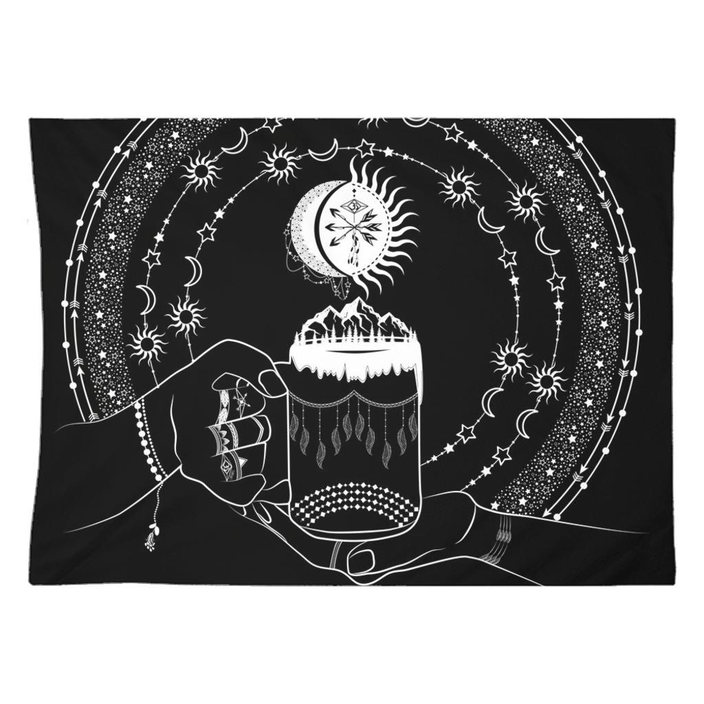 My Bohemian World from my15bohemianart Collection Black Tapestry-Wall Tapestry-famenxt
