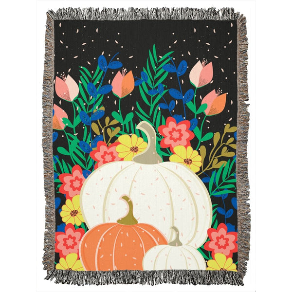 Pumpkin and Flowers Black Woven Blanket-famenxt