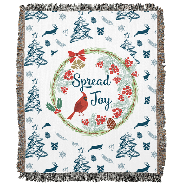 Spread Joy Blue Pattern Woven Blanket-famenxt
