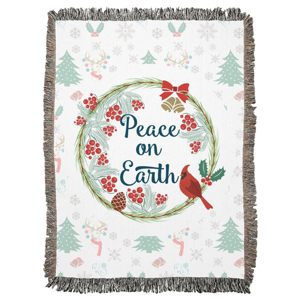 Peace on Earth Pattern Woven Blanket-famenxt