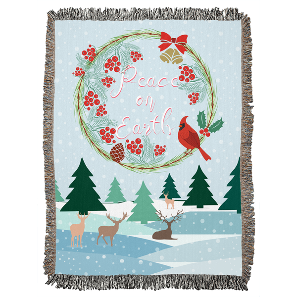 Peace on Earth Winter Landscape Woven Blanket-famenxt