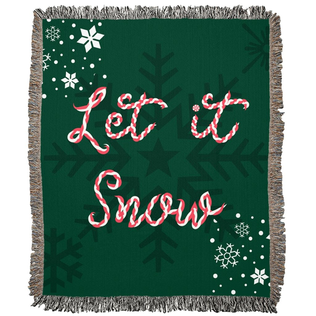 Let it Snow Green Woven Blanket-famenxt