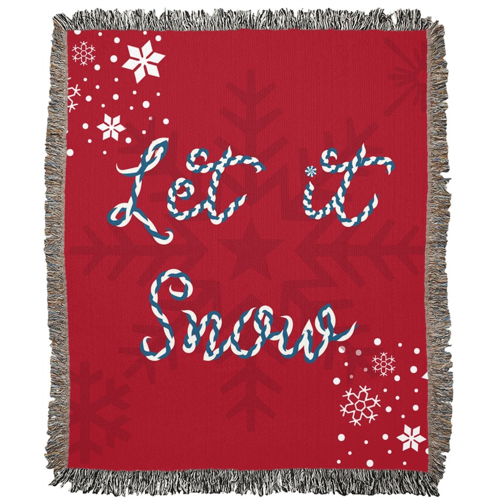 Let it Snow Red Woven Blanket-famenxt
