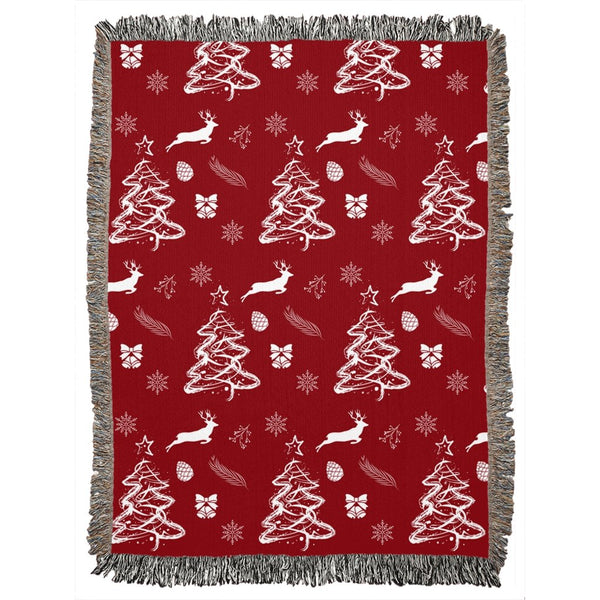 Christmas Red Woven Blanket-famenxt