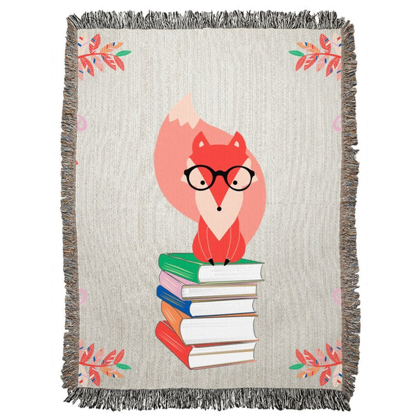 Fox and Books Woven Blanket-famenxt