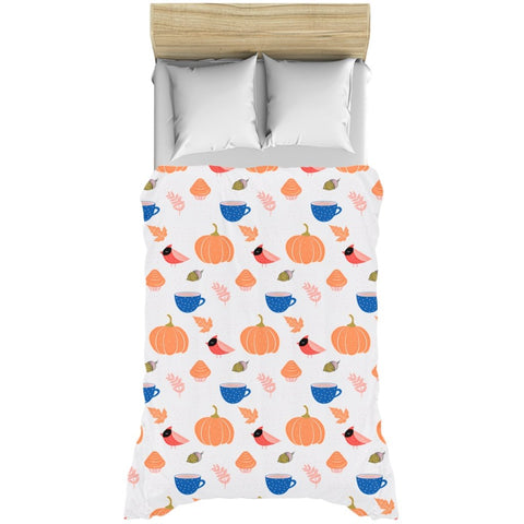 Autumn Vibes White Duvet Cover-famenxt