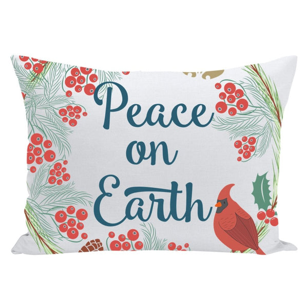 Peace on Earth Christmas Throw Pillow-famenxt