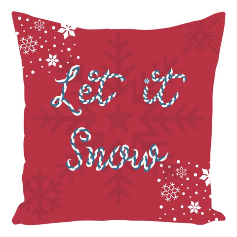 Let it Snow Red Christmas Throw Pillow - famenxtshop