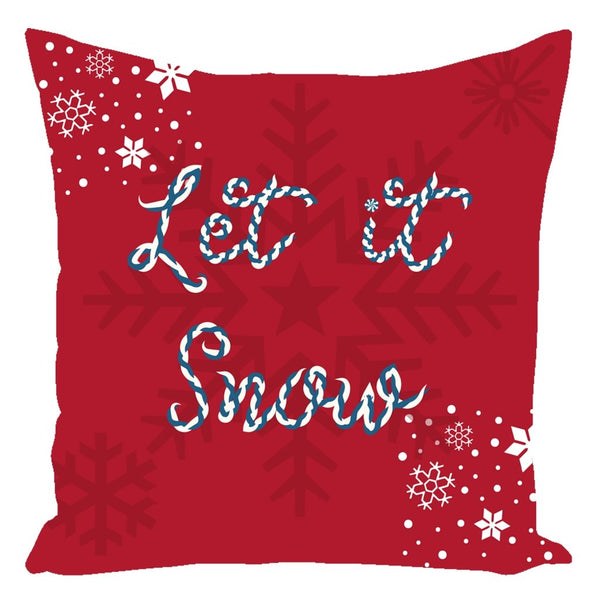 Let it Snow Red Christmas Throw Pillow-famenxt