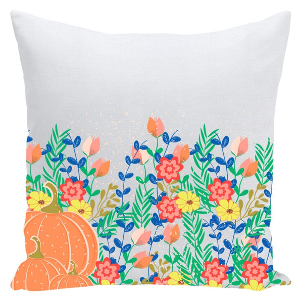 Pumpkins and Flowers Throw Pillow-famenxt