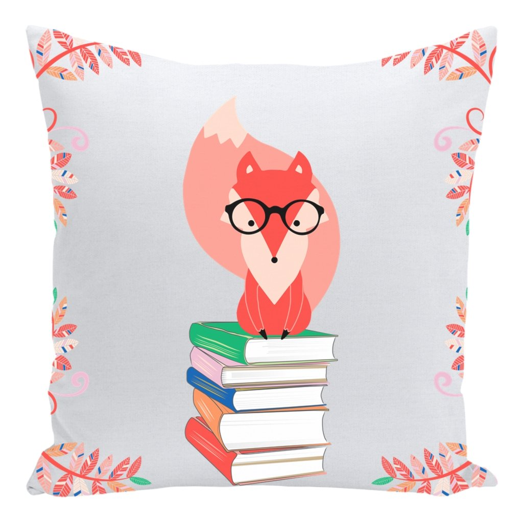 Fox and Books Throw Pillow-famenxt